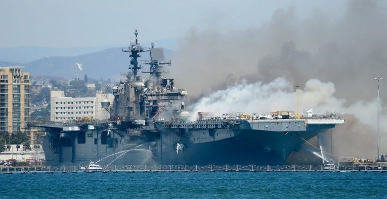 Over 400 US Navy sailors are desperately fighting the 1,000-degree fire raging on a warship for more than a day