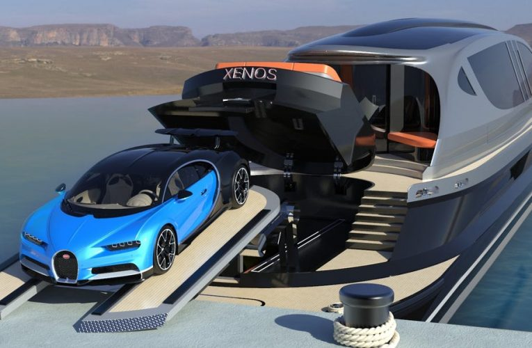 This $39 million superyacht comes with a $3 million Bugatti and a spot on deck to park it — take a closer look at 'Xenos'