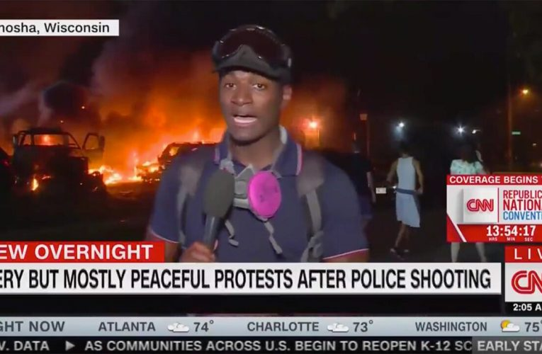 CNN panned for on-air graphic reading 'fiery but mostly peaceful protest' in front of Kenosha fire