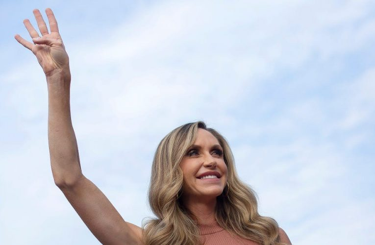 Lara Trump says the president 'was having fun' at a rally where supporters chanted 'lock her up' towards Michigan governor