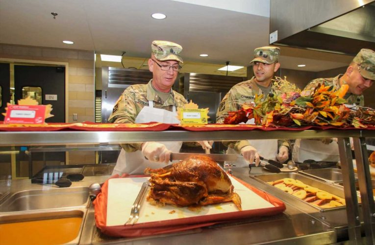 Pentagon sends nearly 300,000 pounds of traditional Thanksgiving dinner to U.S. troops around the world
