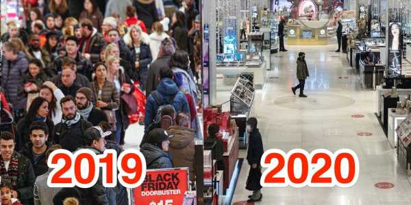 Photos of Macy's nearly empty New York store on Black Friday compared to last year reveals how the coronavirus pandemic has destroyed in-person holiday shopping