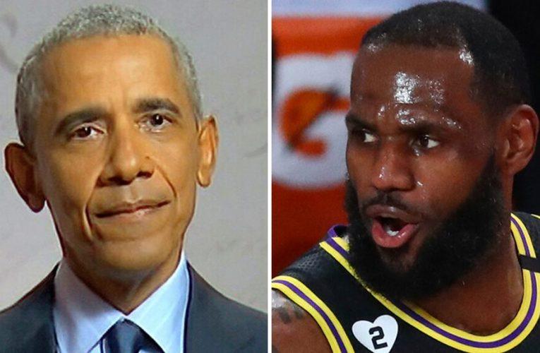 Obama sinks 3-pointer, Democrats cheer on social media