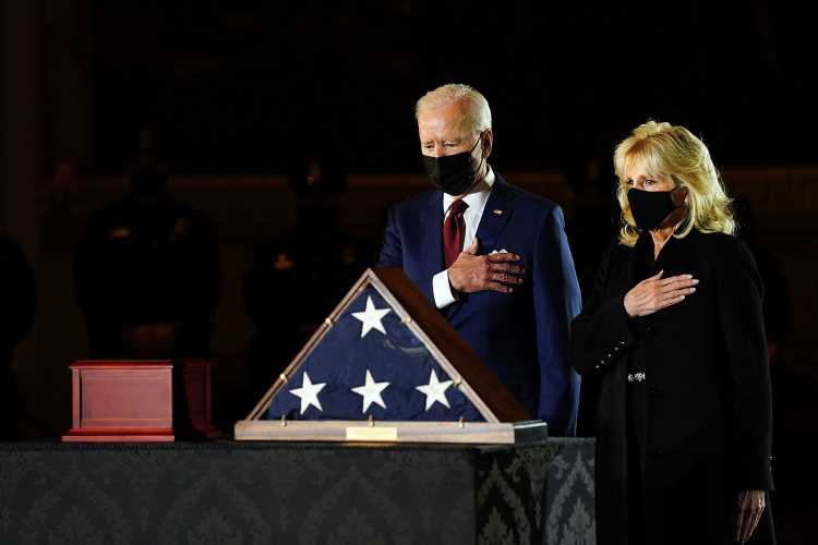 Joe Biden and the First Lady Pay Their Respects to Officer Killed During Capitol Riots