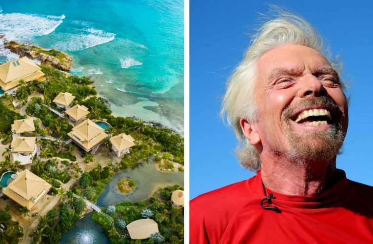 Richard Branson is renting out his private estate on his second Caribbean island for the first time at $25,000 a night. Take a look inside the 3-villa compound.