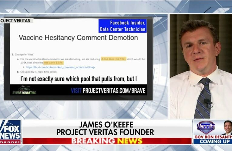 O'Keefe: 'More to come' after Project Veritas release docs revealing Facebook censoring 'vaccine hesitancy'