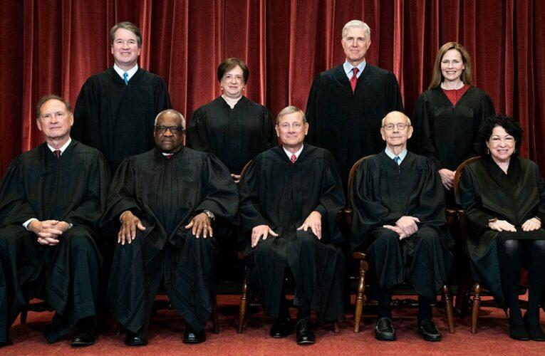 On Supreme Court steps, Dem senator calls right-leaning justices 'servants' of dark money interests